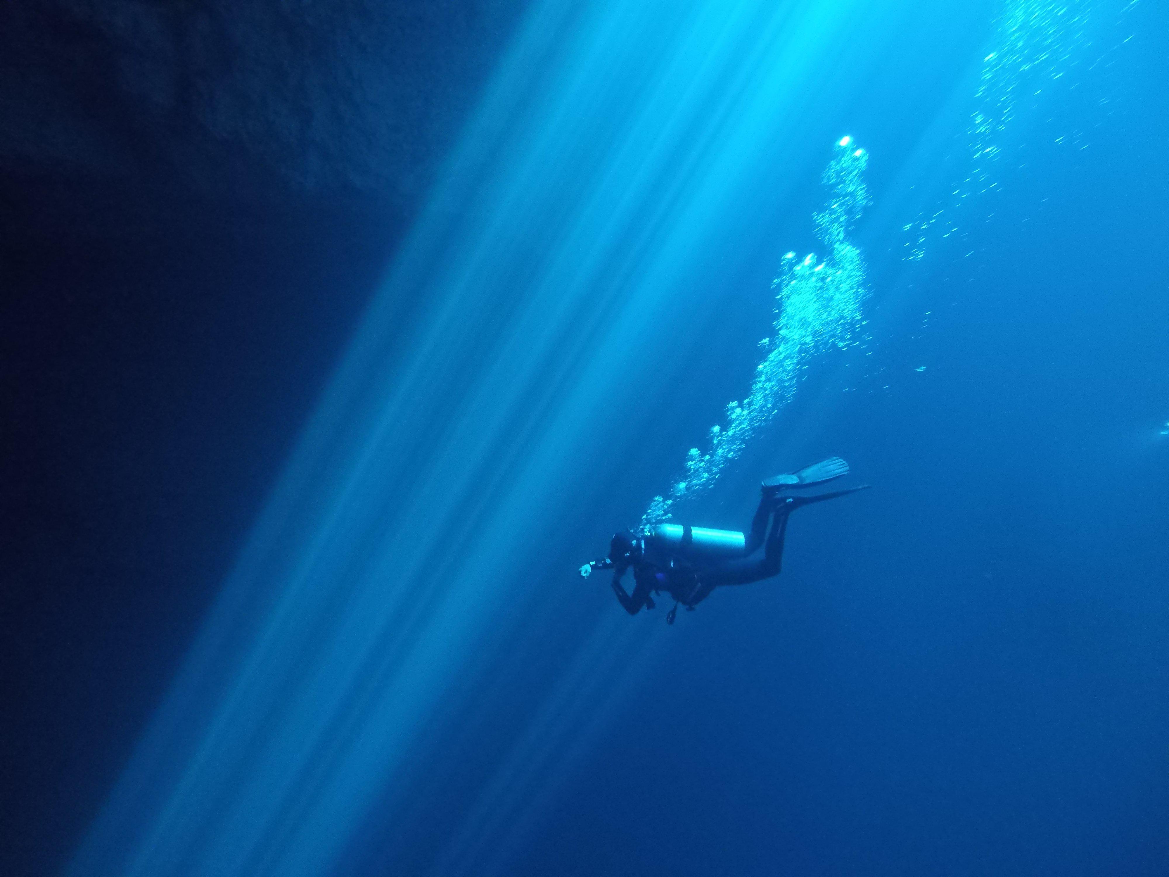 buzo nadando en el cenote maravilla